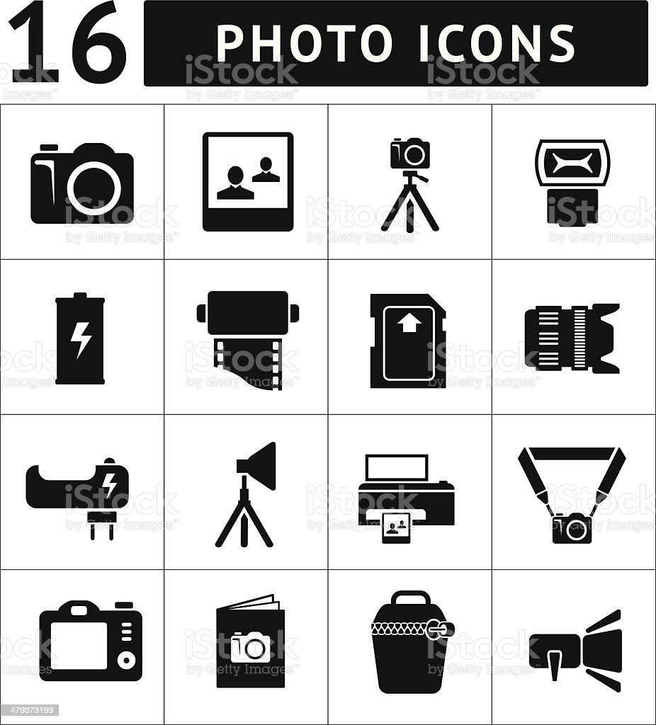 Set icons of photo vector art illustration