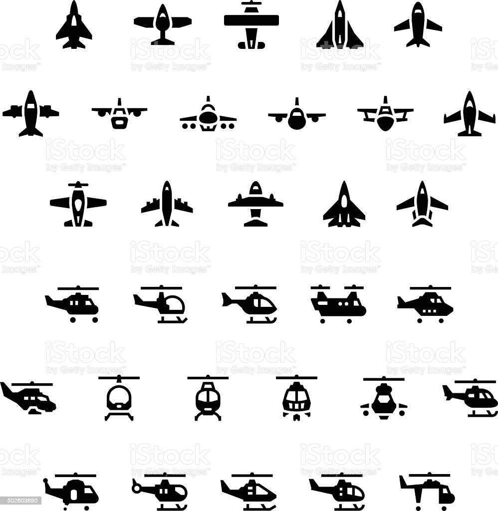 Set icons of planes and helicopters vector art illustration