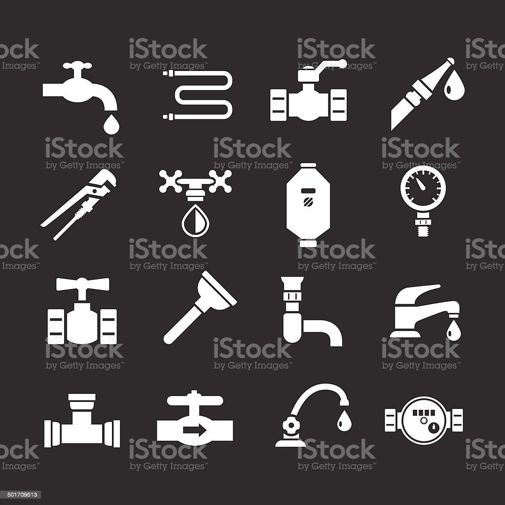 Set icons of plumbing vector art illustration