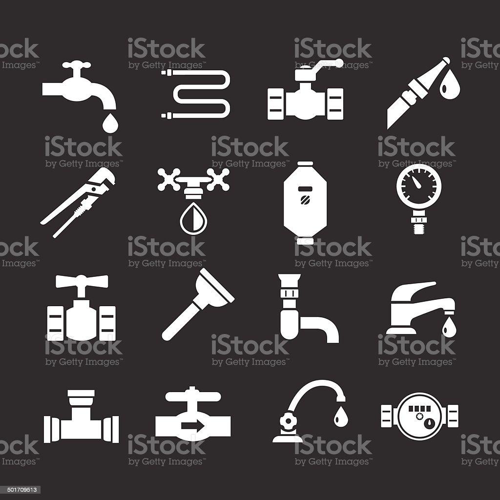 Set icons of plumbing vector art illustration