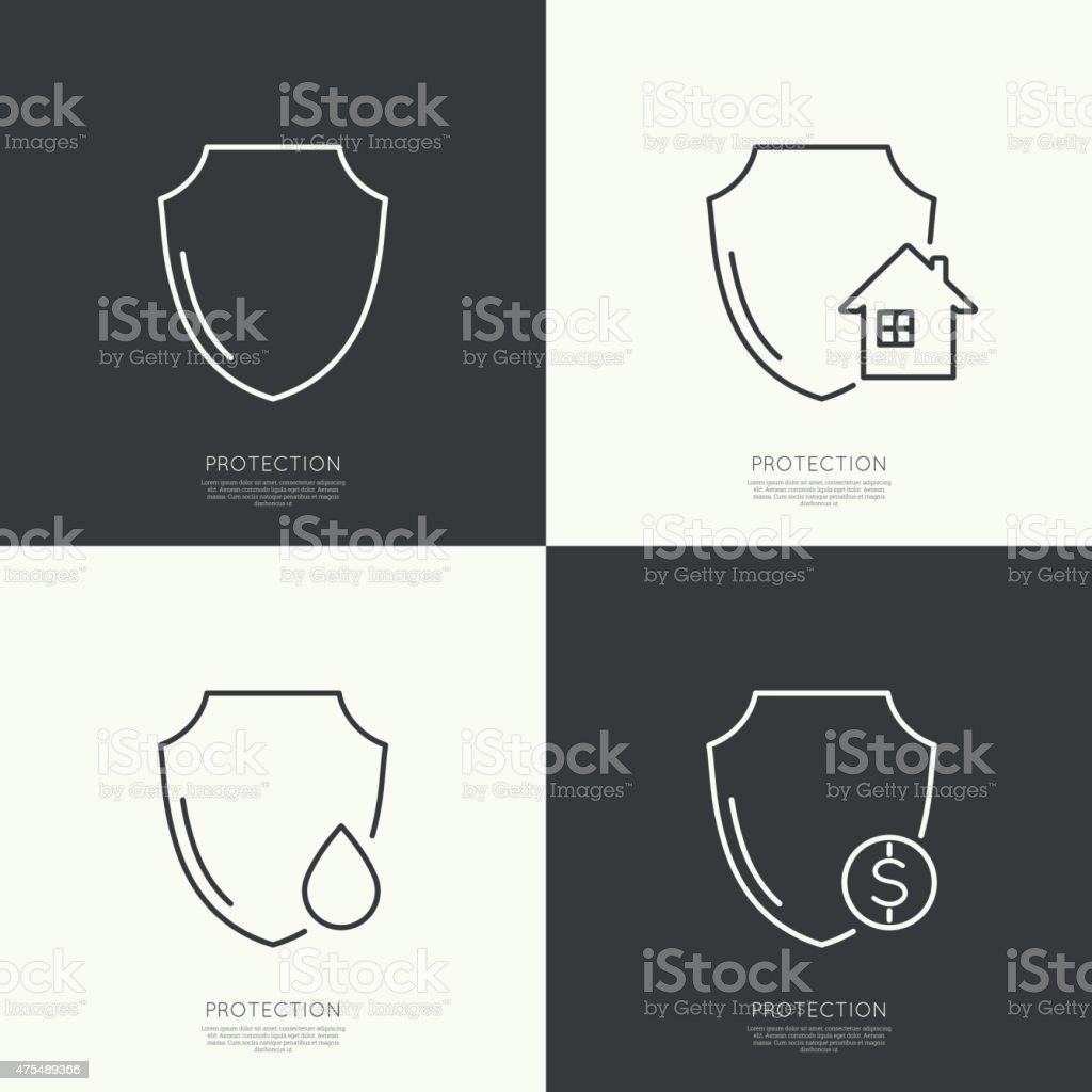 Set icons of protection vector art illustration
