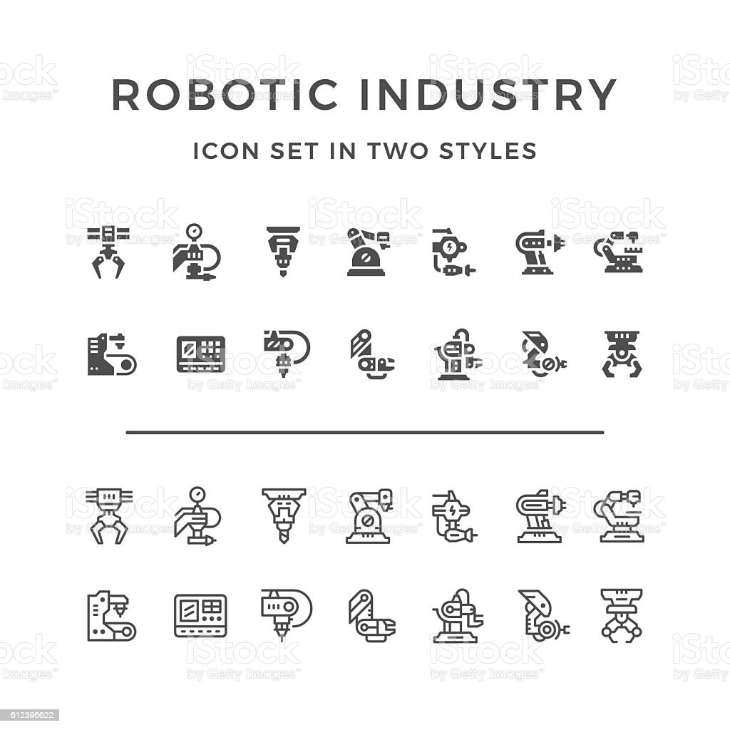 Set icons of robotic industry vector art illustration