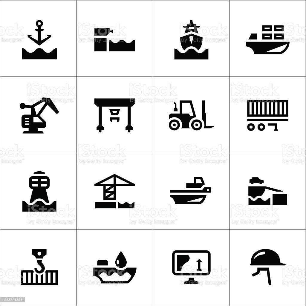 Set icons of seaport vector art illustration