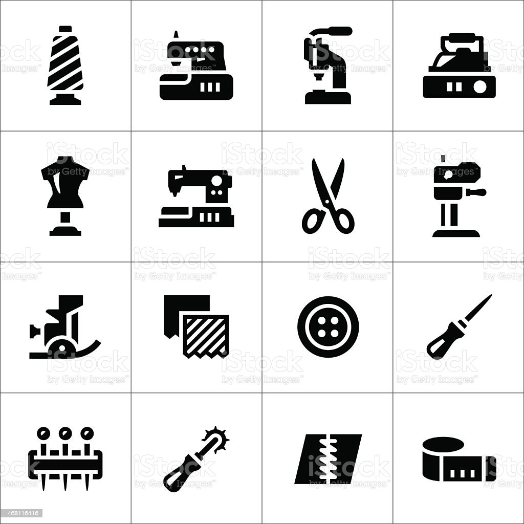 Set icons of sewing vector art illustration