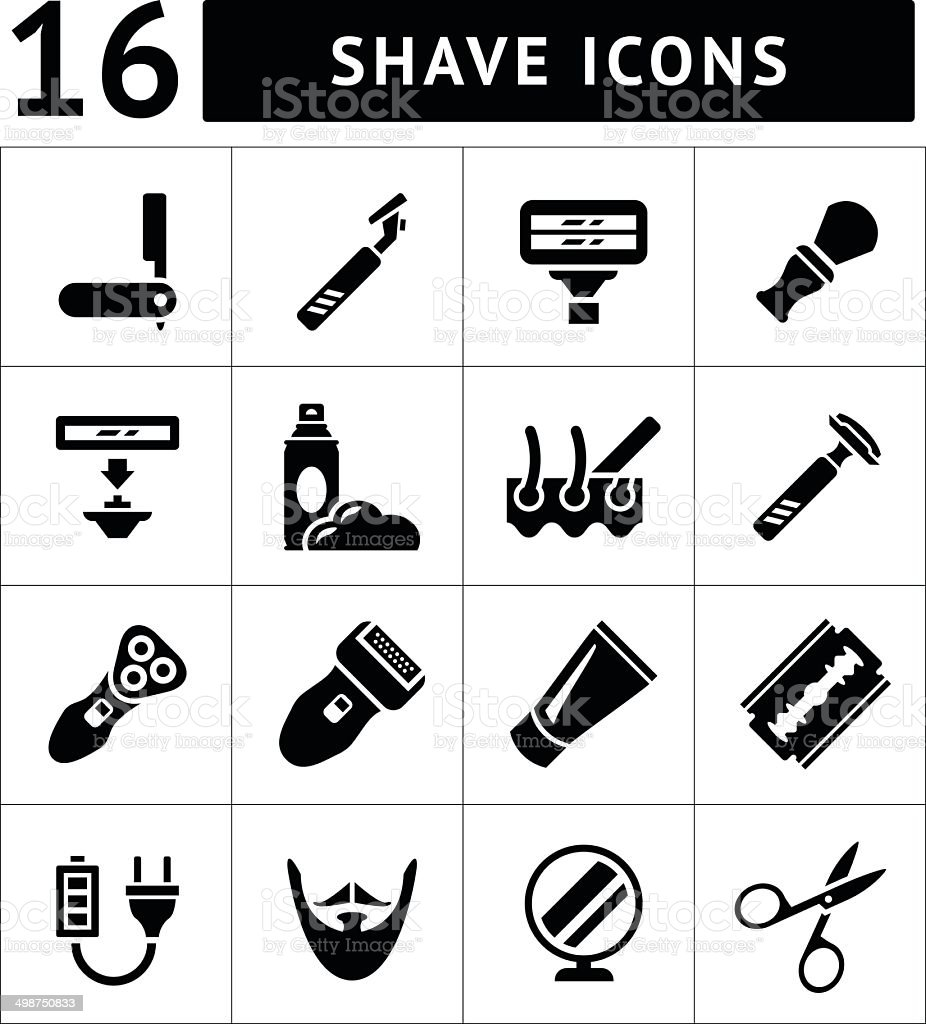 Set icons of shave, barber equipment and accessories vector art illustration
