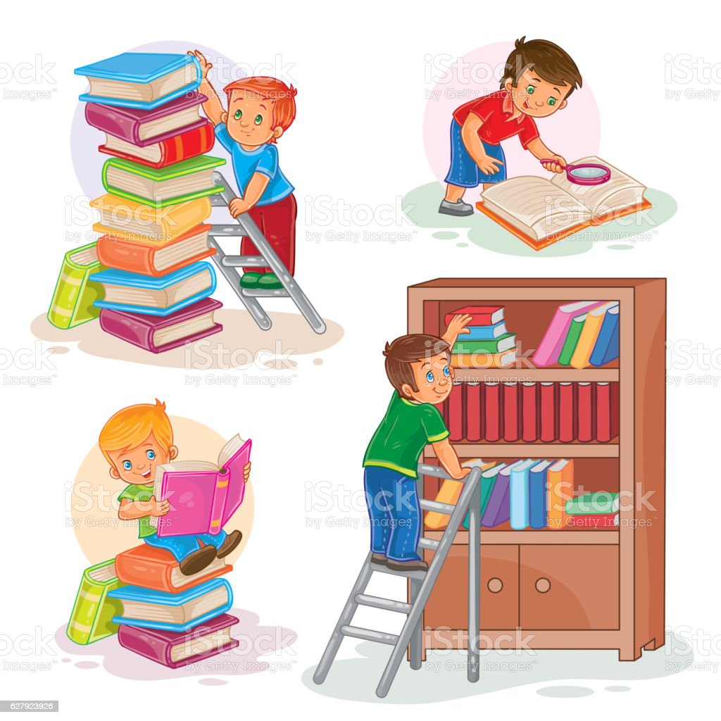 Set icons of small children reading a book vector art illustration