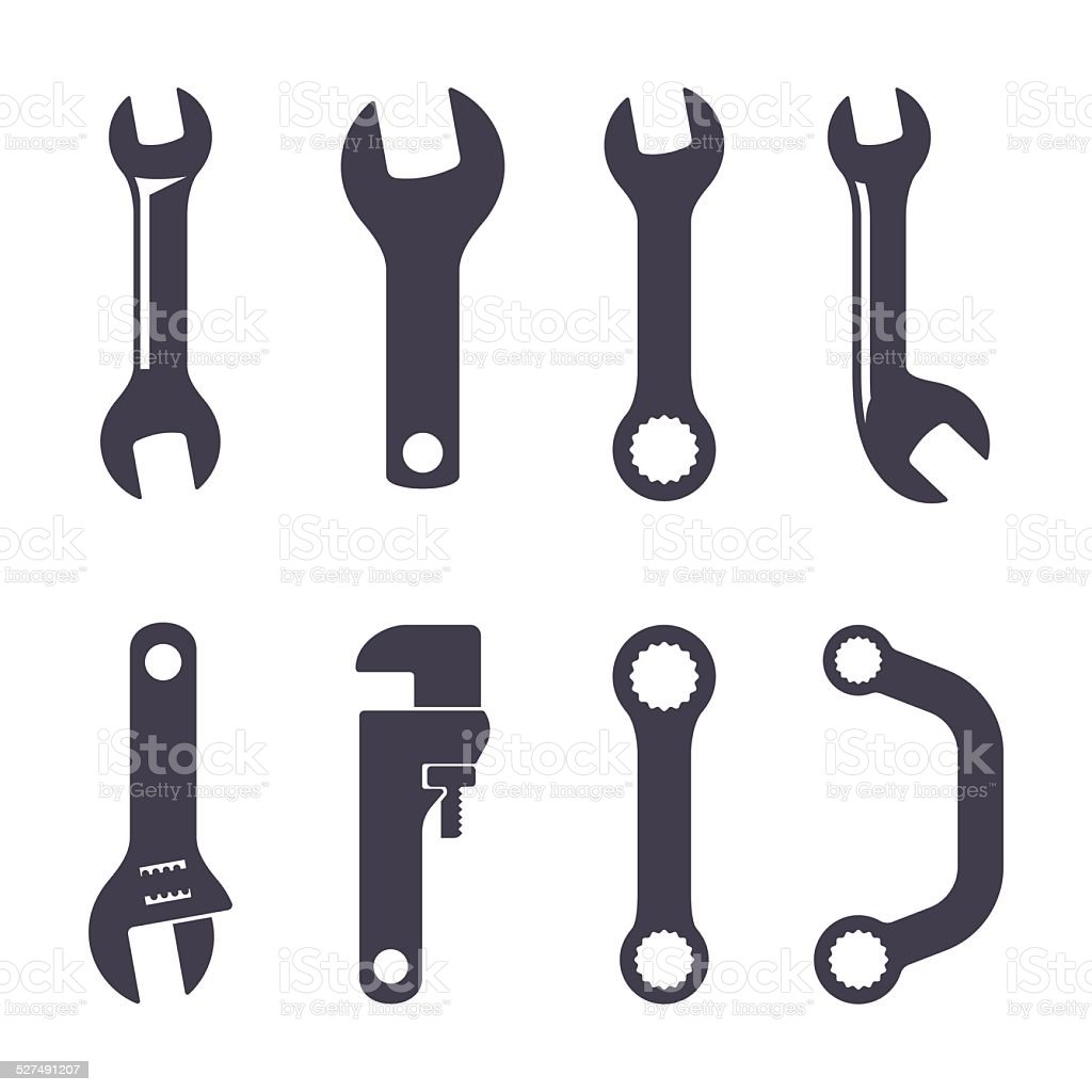 Set icons of spanners vector art illustration