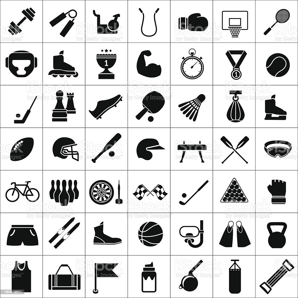 Set icons of sports and fitness equipment vector art illustration