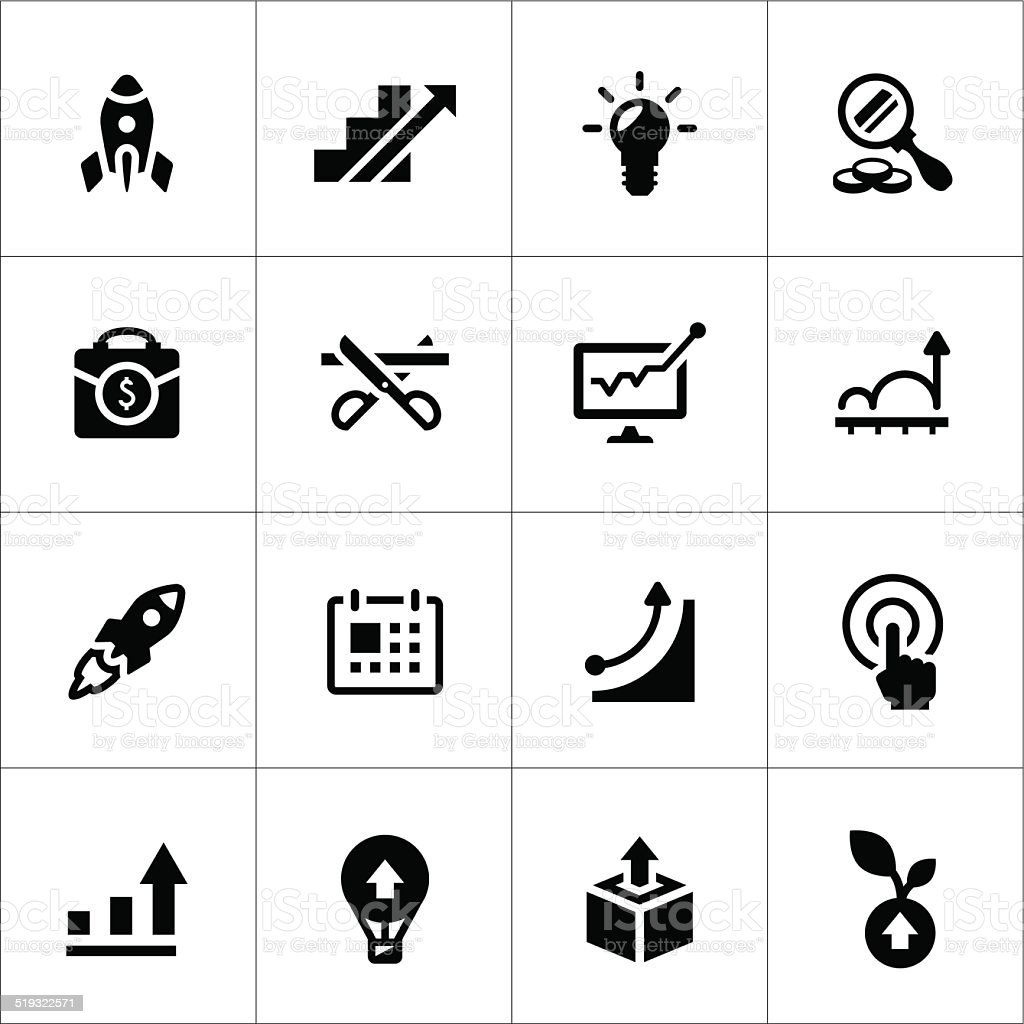 Set icons of start-up vector art illustration