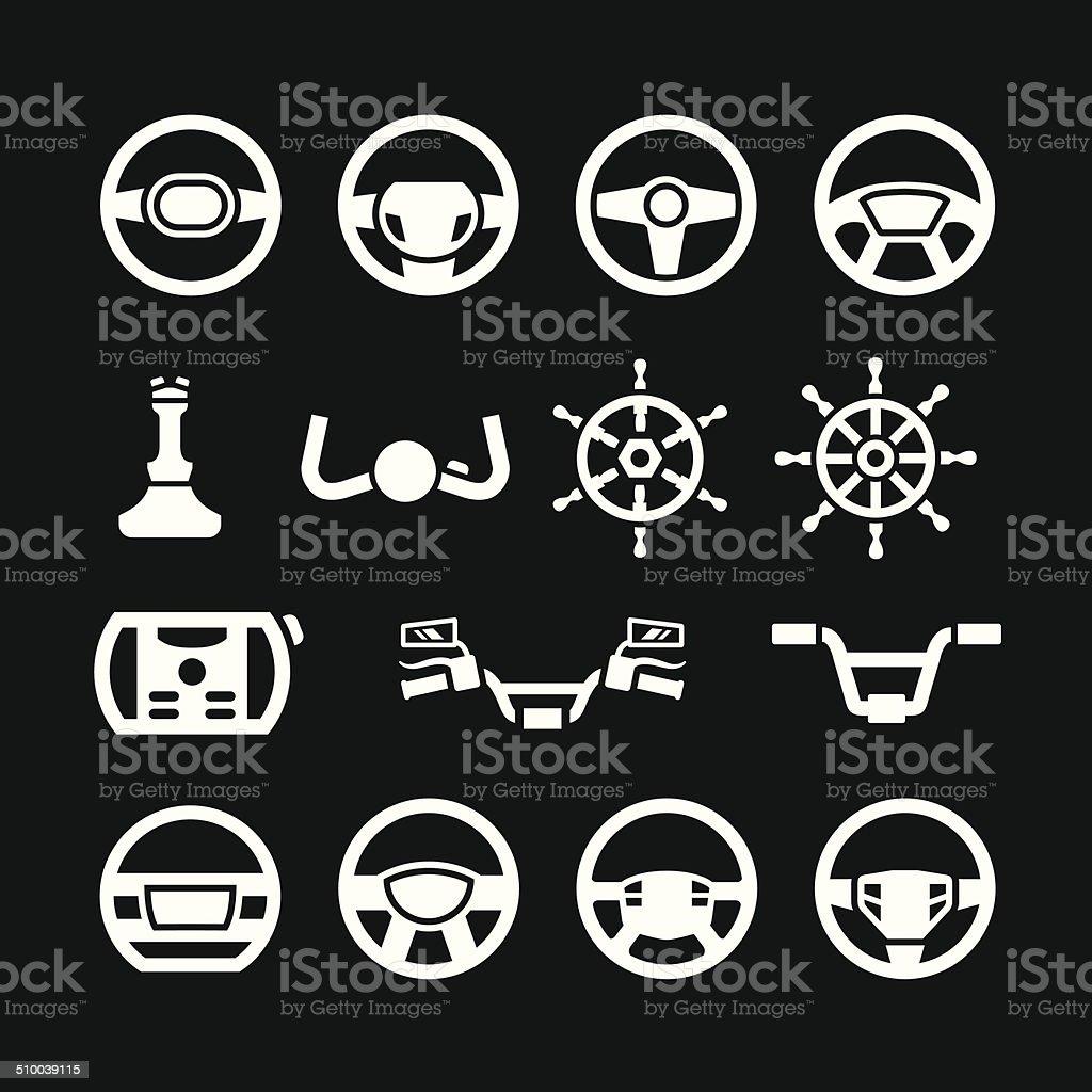 Set icons of steering wheel, marine steering, helm, bicycle handlebar vector art illustration