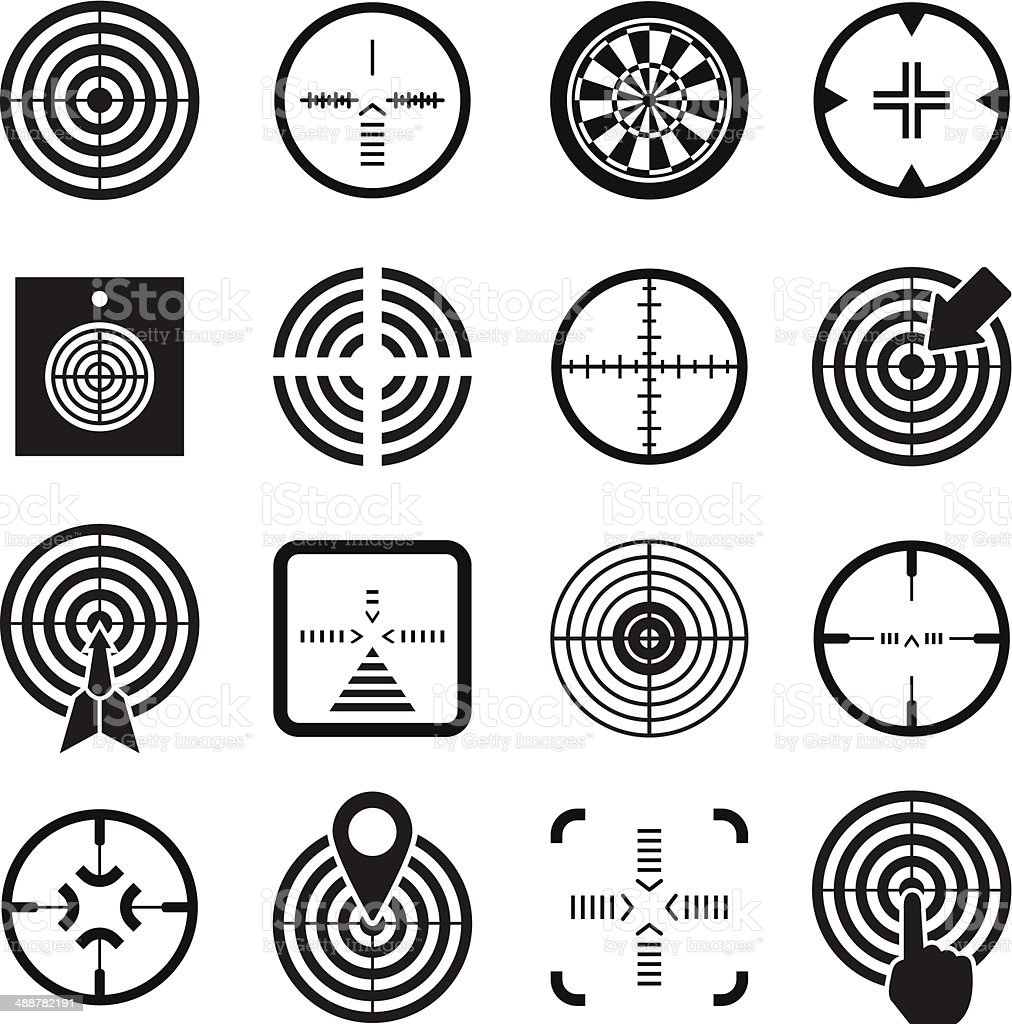 Set icons of target and sights vector art illustration