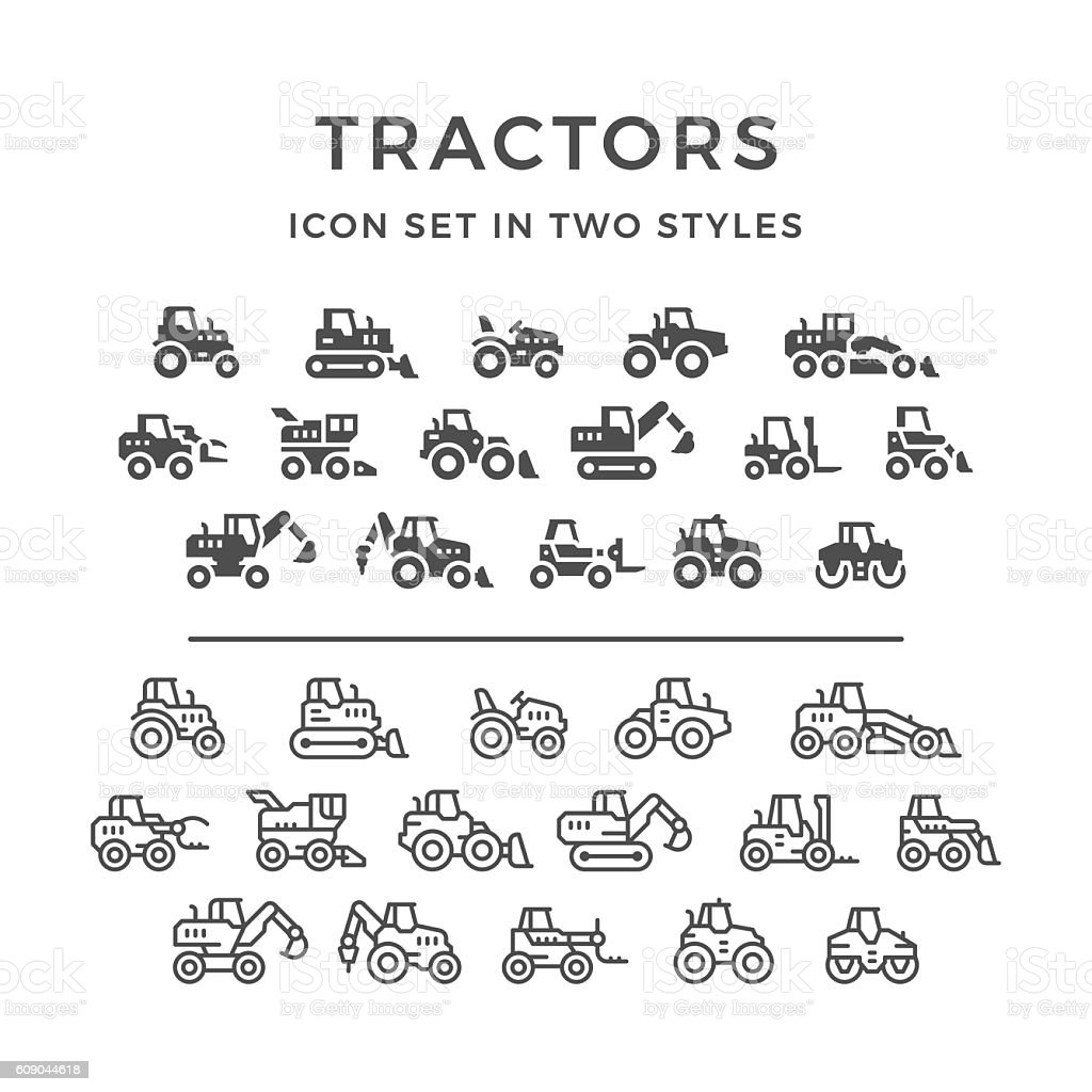 Set icons of tractors vector art illustration