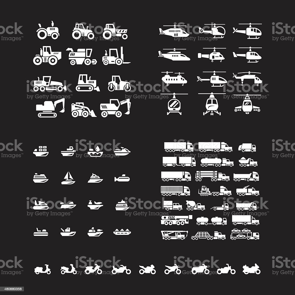 Set icons of transport. Tractors, helicopters, water transport, trucks and motorcycles vector art illustration