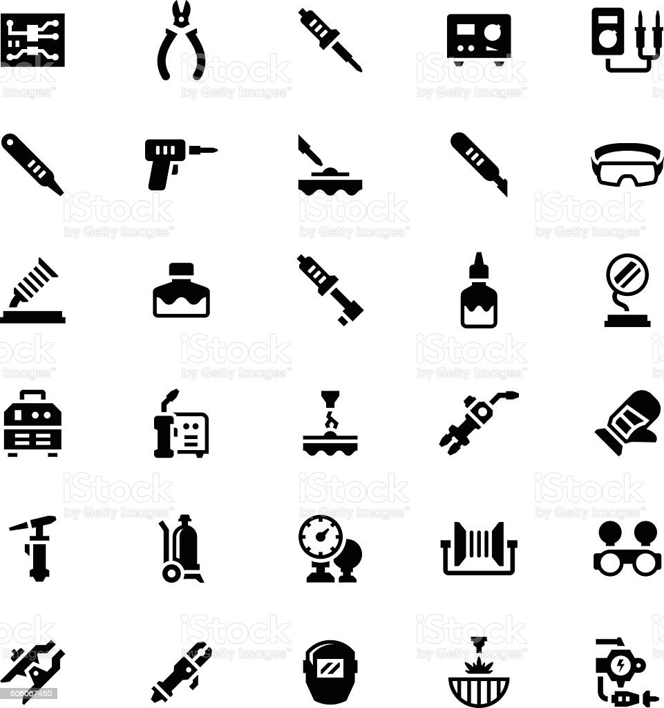 Set icons of welding and soldering vector art illustration