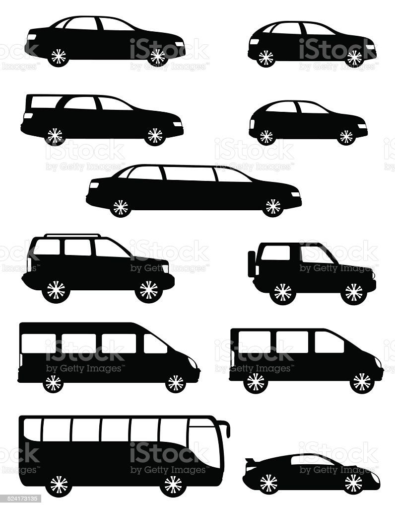 set icons passenger cars with different bodies black silhouette vector art illustration
