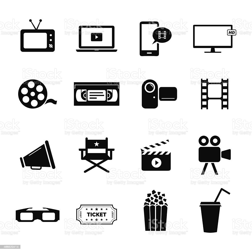Set icons related to cinema, films and movie industry vector art illustration