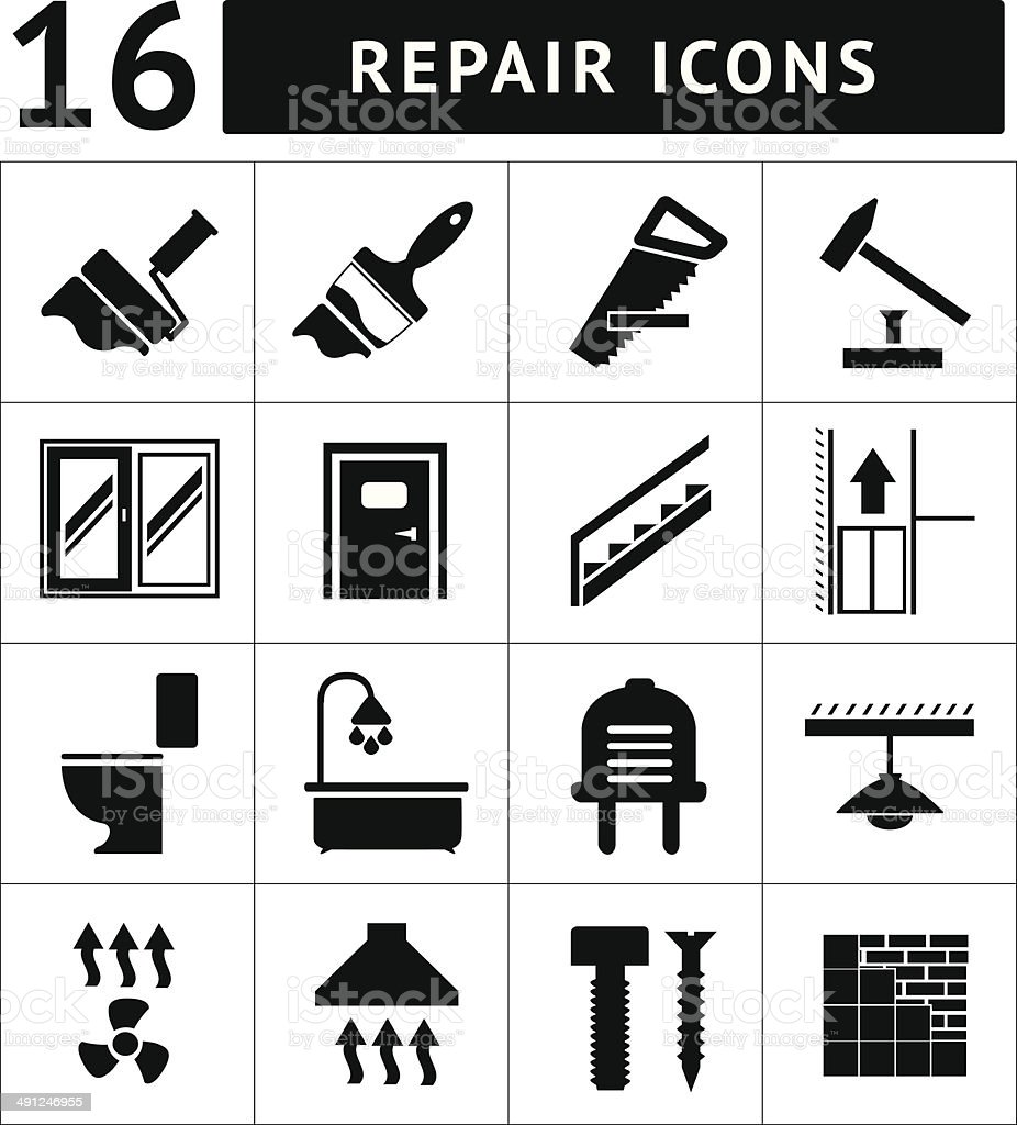 Set icons repair and building royalty-free stock vector art
