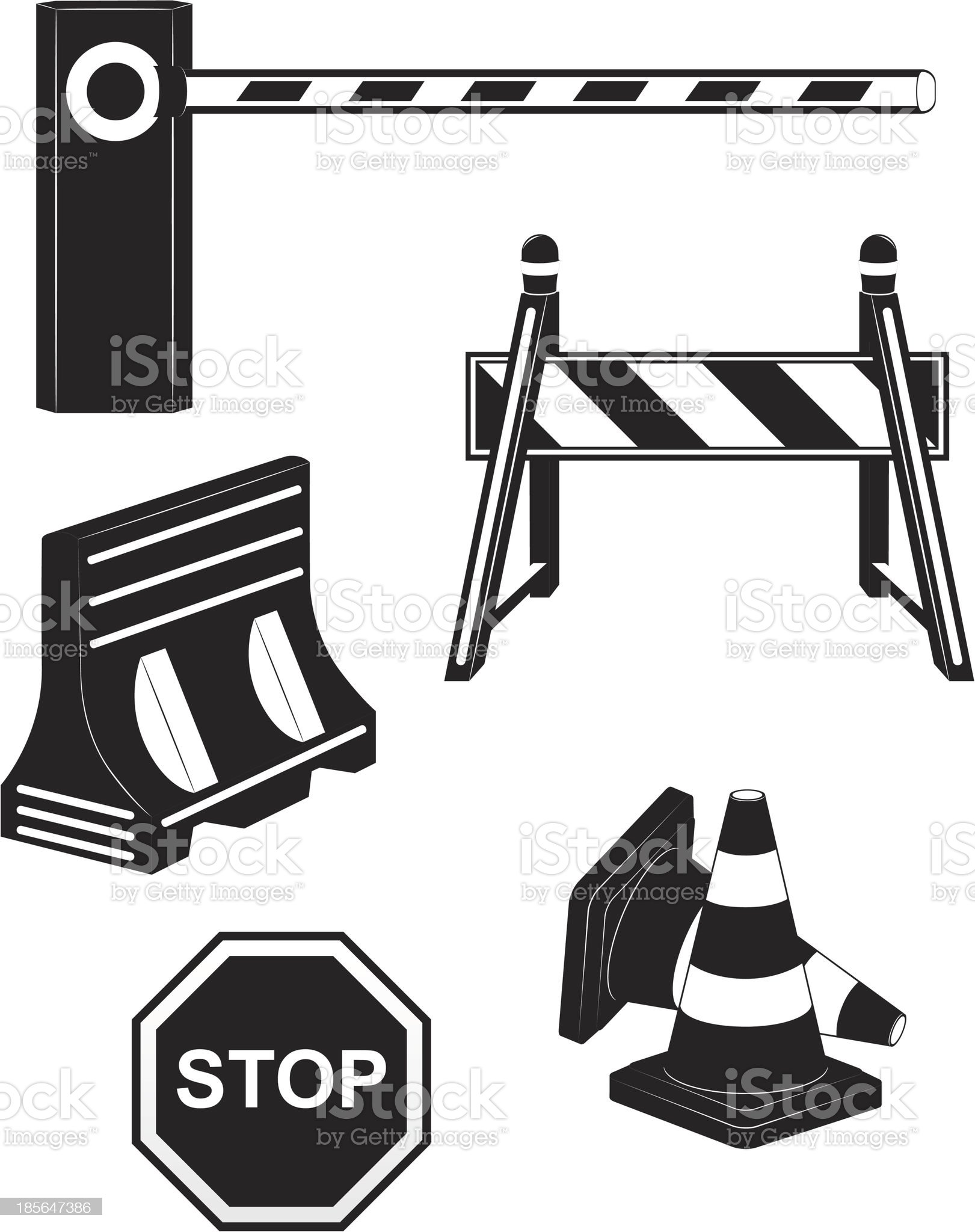 set icons road barrier black silhouette vector illustration royalty-free stock vector art