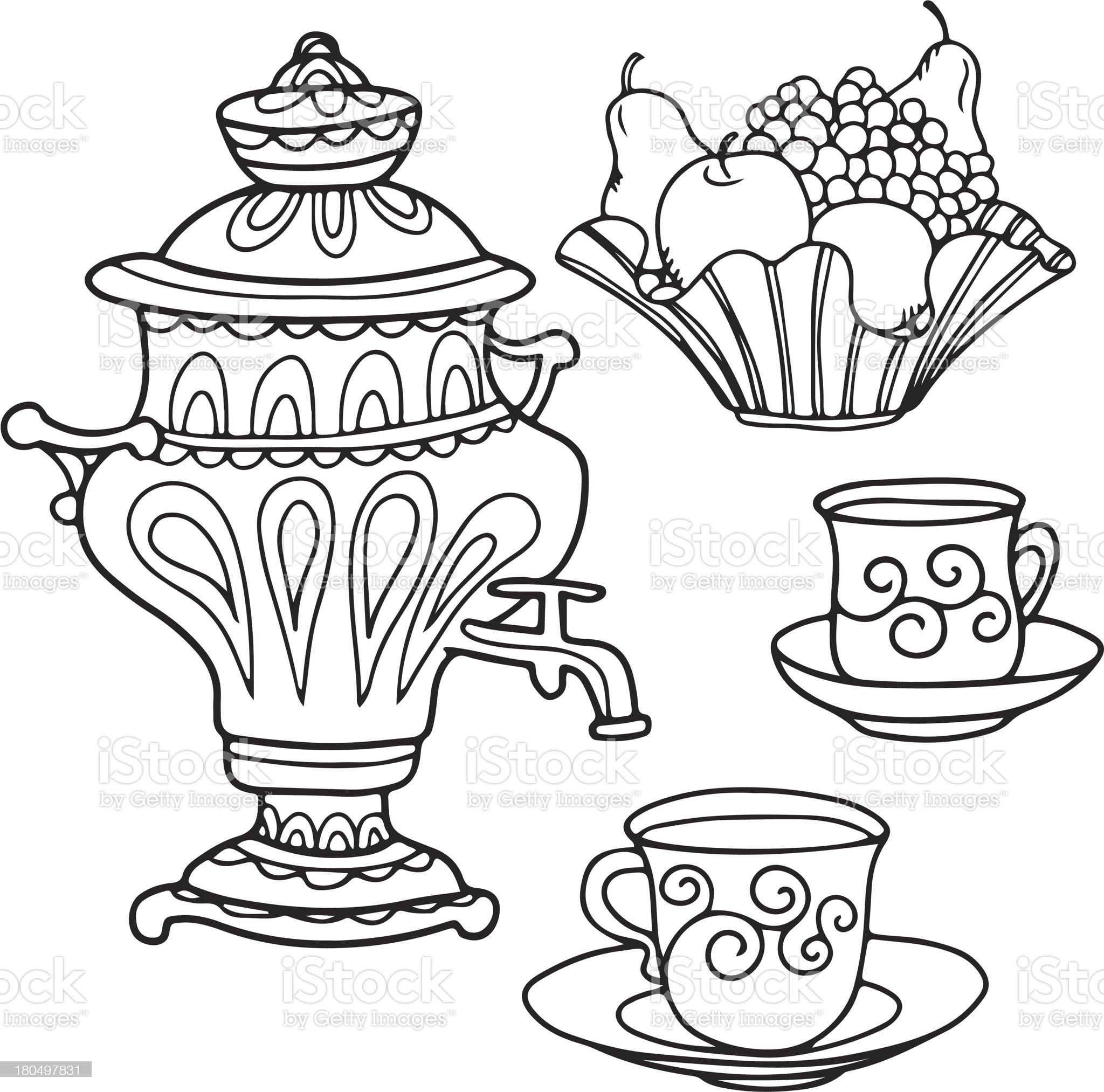 Set icons russian samovar, bowl of fruit and tea cups royalty-free stock vector art