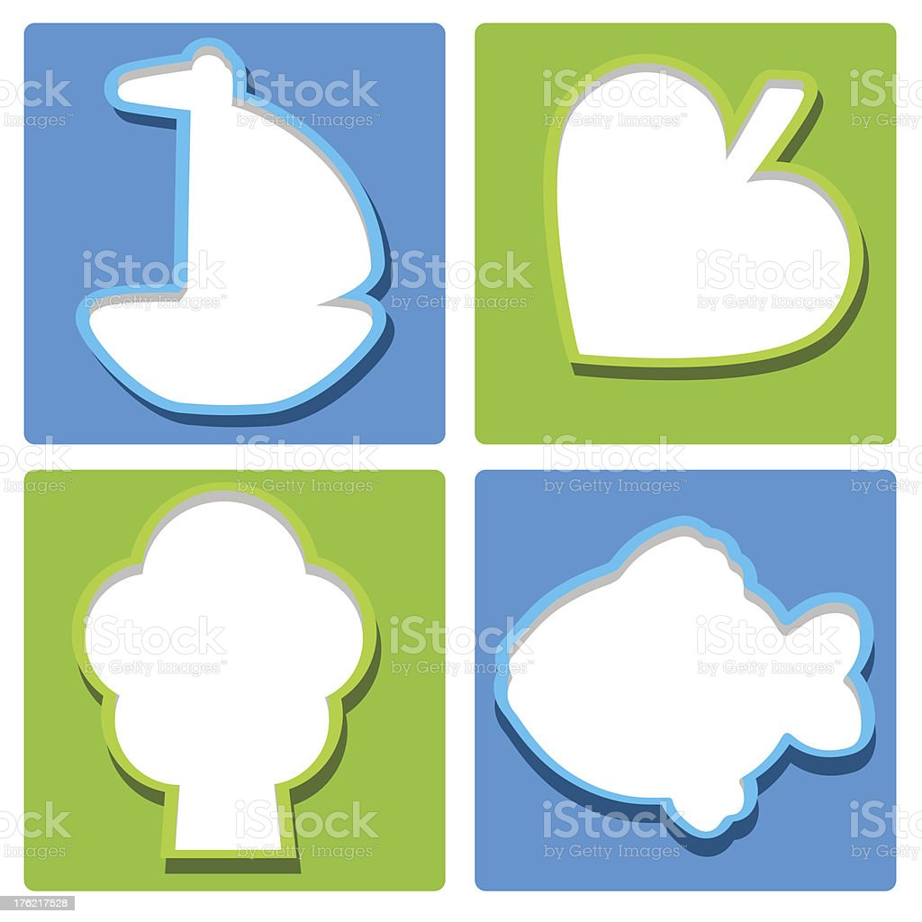 Set icons ship, fish, tree and leaf royalty-free stock vector art