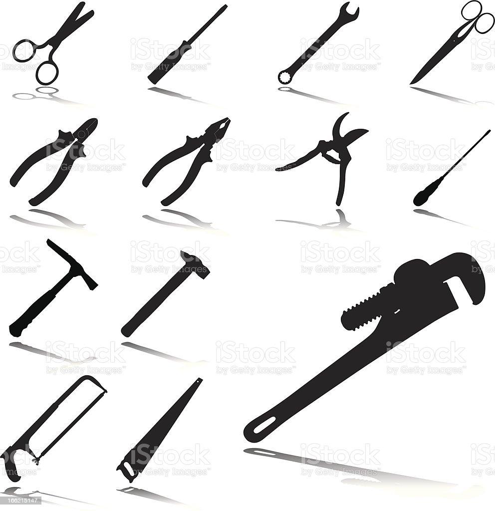 Set icons: Tools vector art illustration