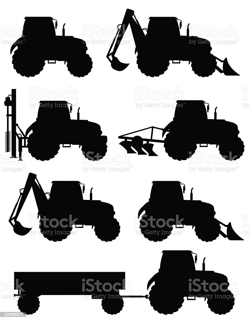 set icons tractors black silhouette vector illustration vector art illustration