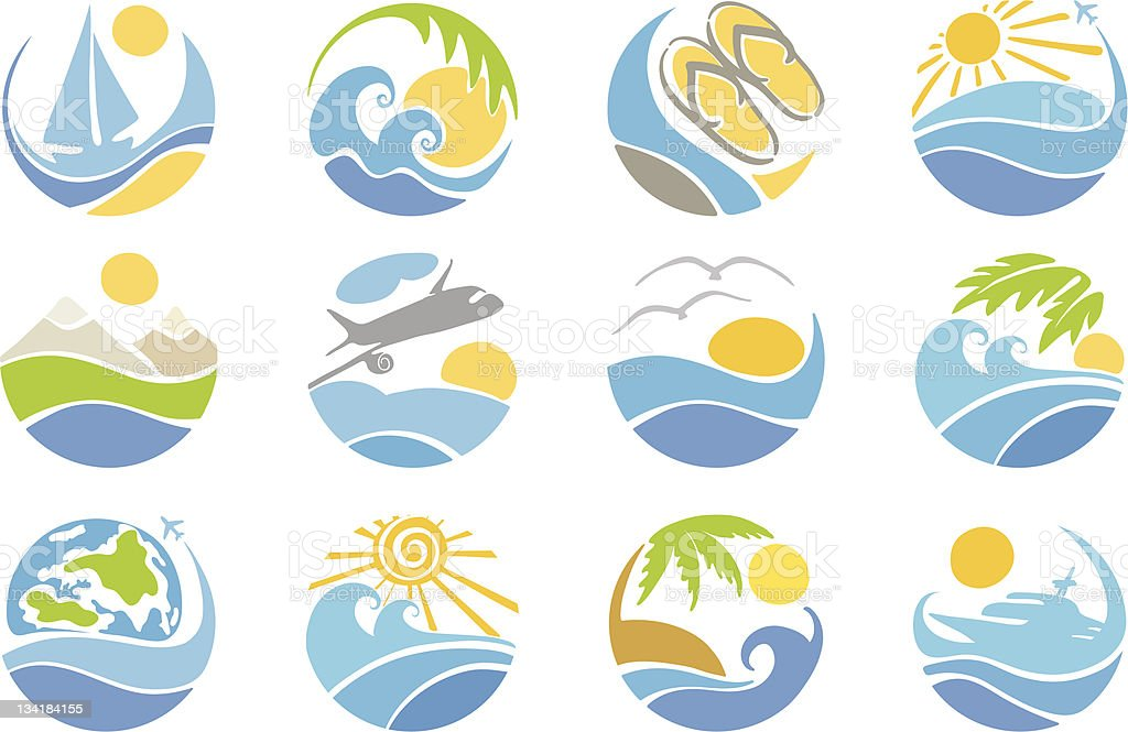 Set icons -- travel & vacation royalty-free stock vector art