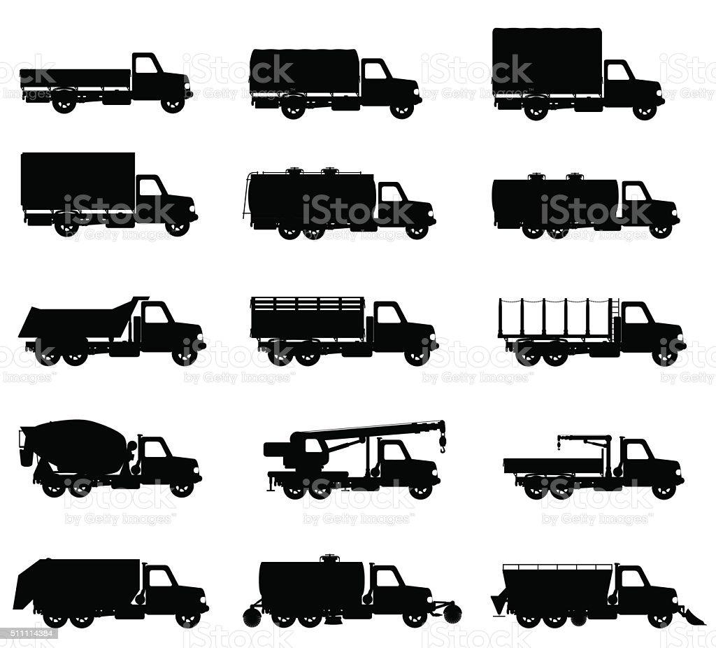 set icons trucks semi trailer black silhouette vector illustrati vector art illustration