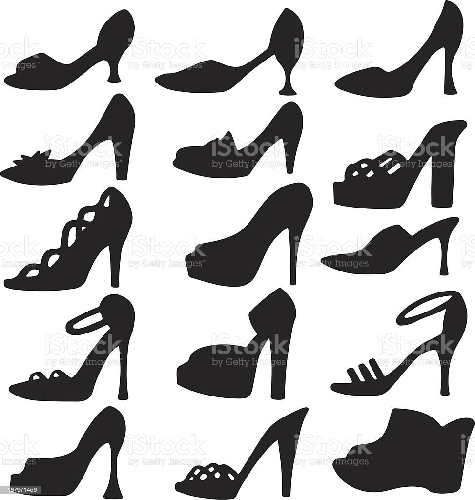 Set icons women's shoes royalty-free stock vector art
