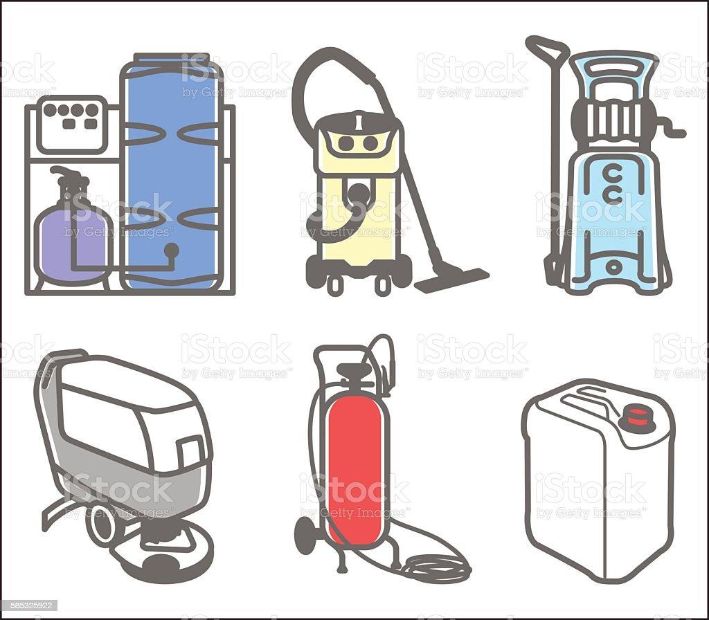 Set illustration of cleaning equipment vector art illustration