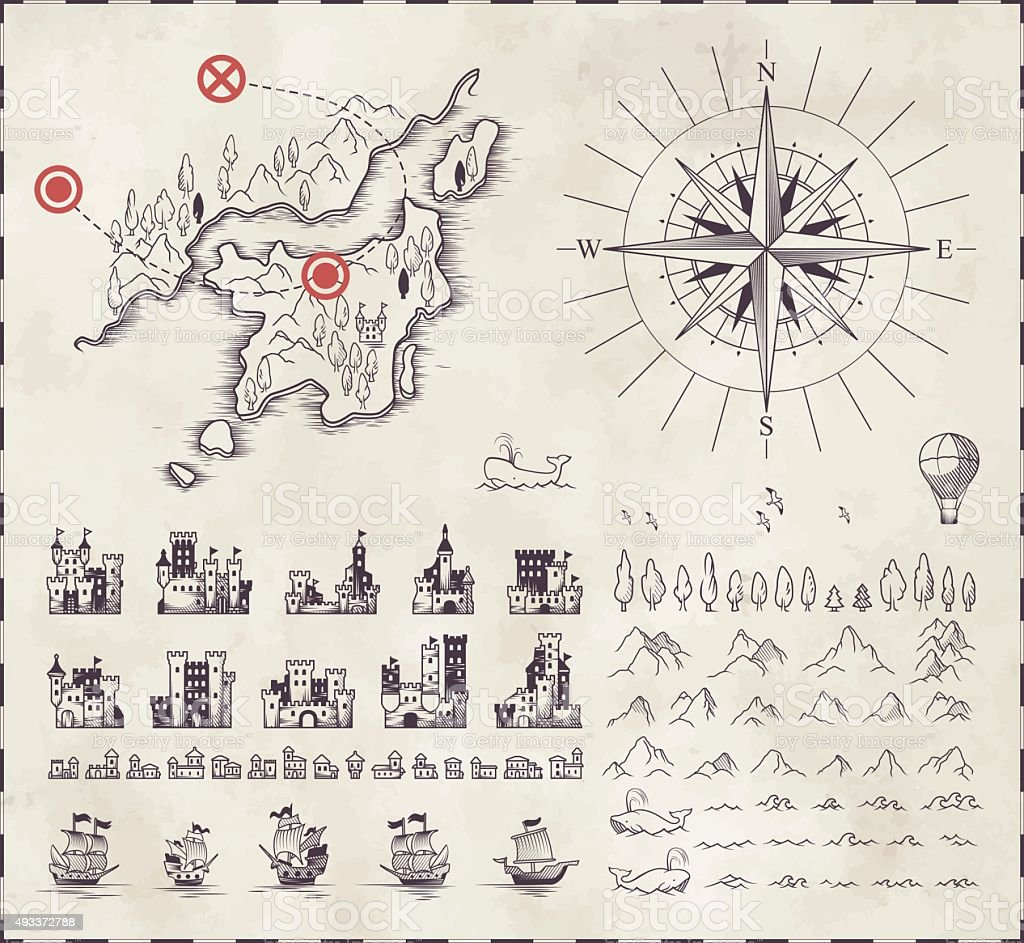 Set in medieval cartography vector art illustration