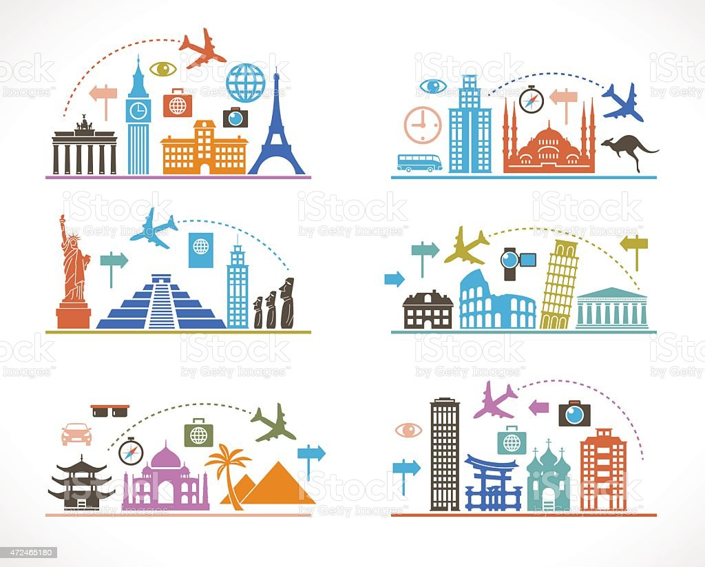 Set infographic design with travel icons and airplane vector art illustration