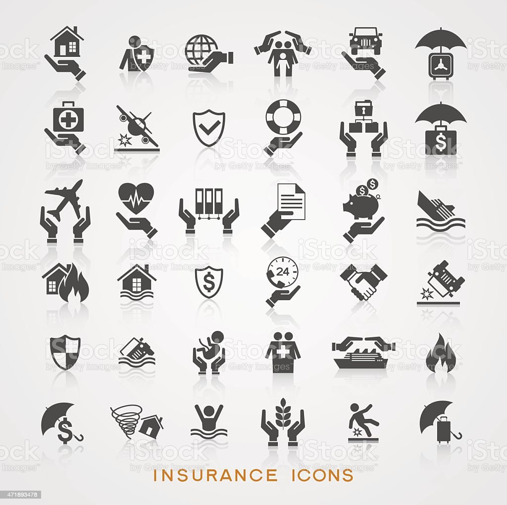Set insurance icons vector art illustration