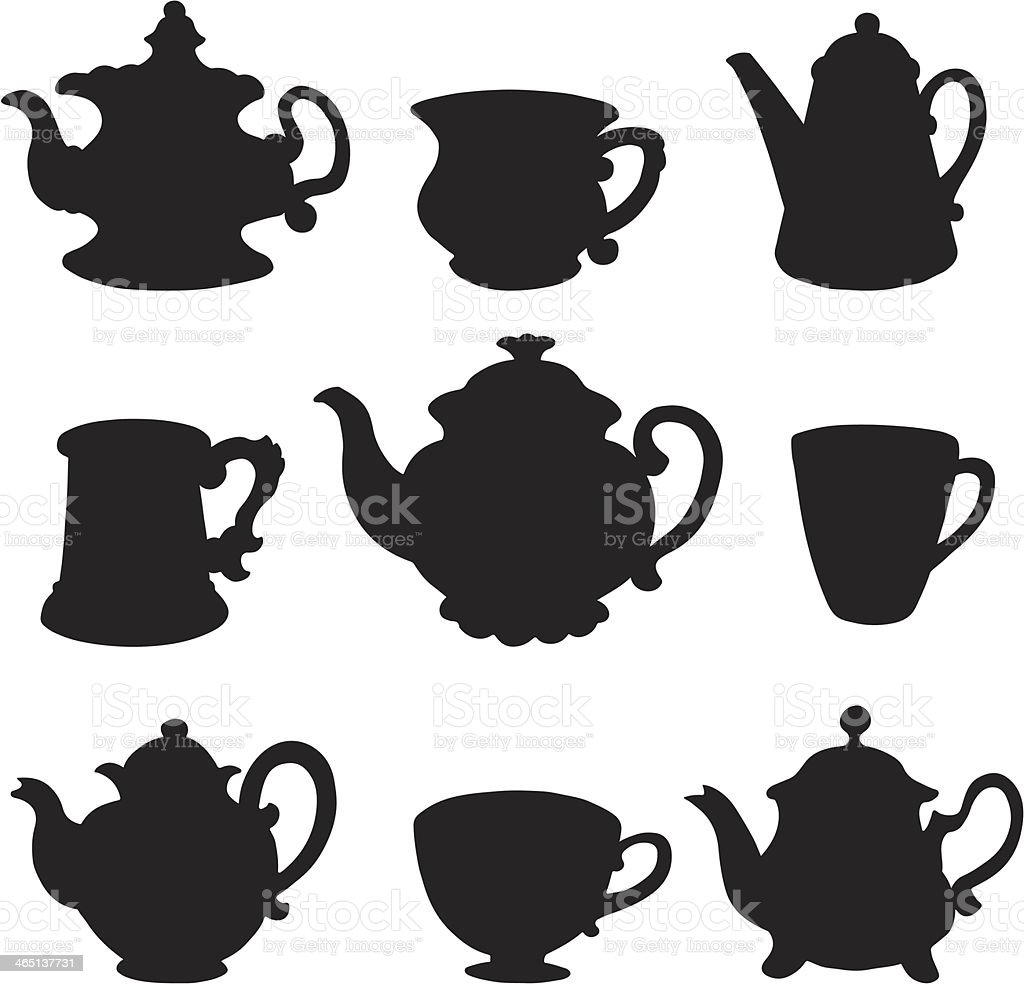 Set isolated icon silhouette teacups and teapots vector art illustration