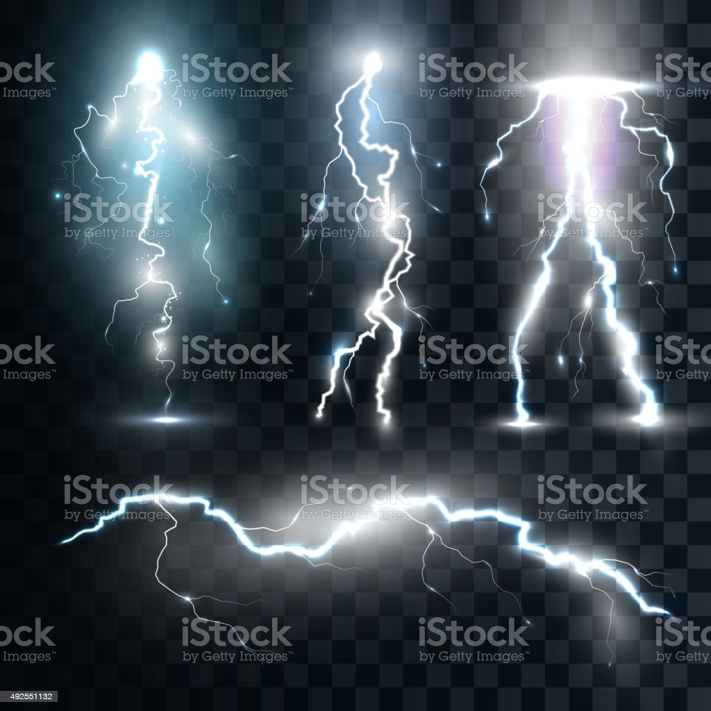 Set isolated realistic lightnings with transparency for design vector art illustration