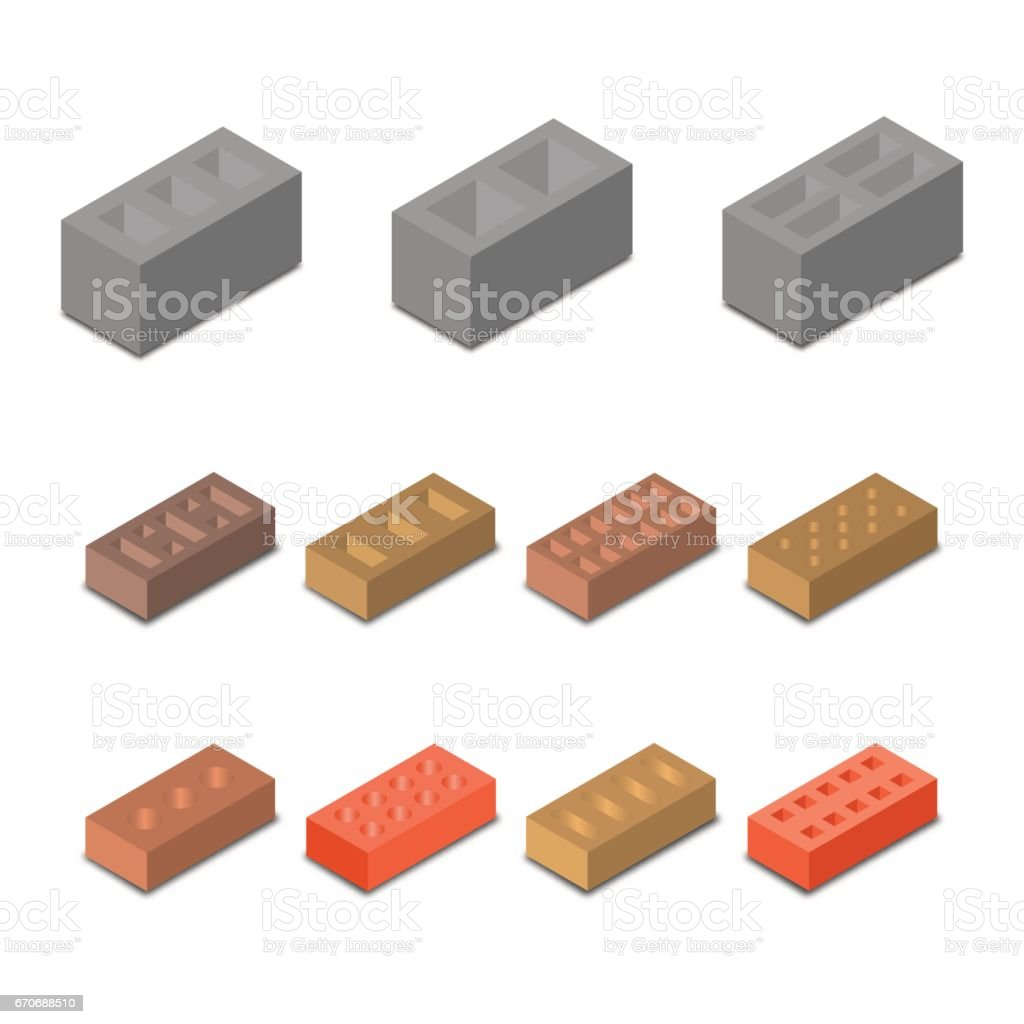 Set isometric icon construction materials, vector illustration. vector art illustration