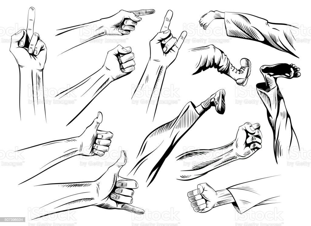 Set kick and fisticuffs comic book, vector illustration vector art illustration