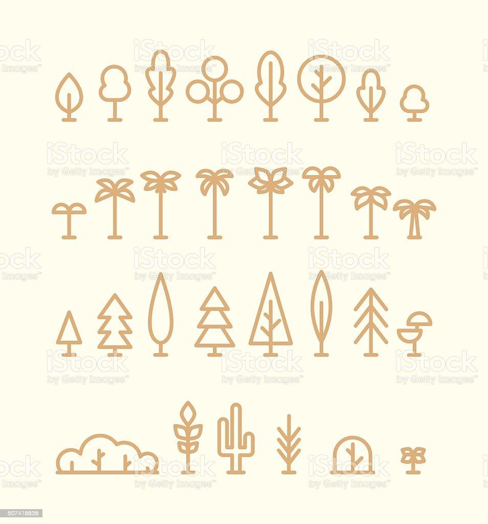 Set kinds trees palms fir spruces bushes linear vector art illustration