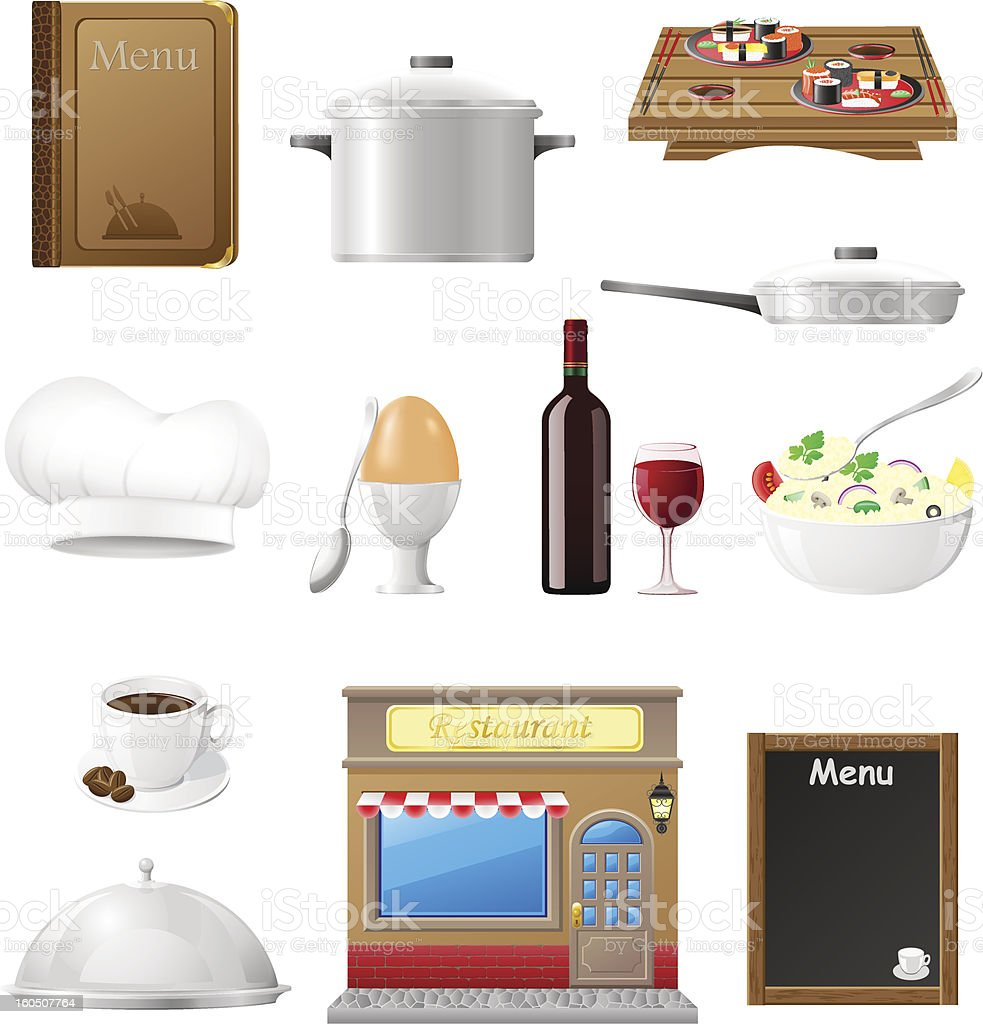 set kitchen icons for restaurant cooking vector illustration royalty-free stock vector art