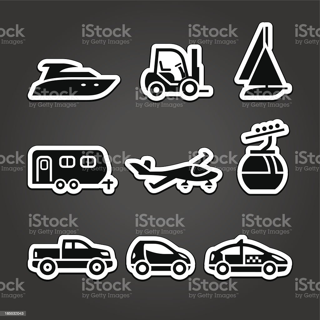 Set labels transport icons royalty-free stock vector art
