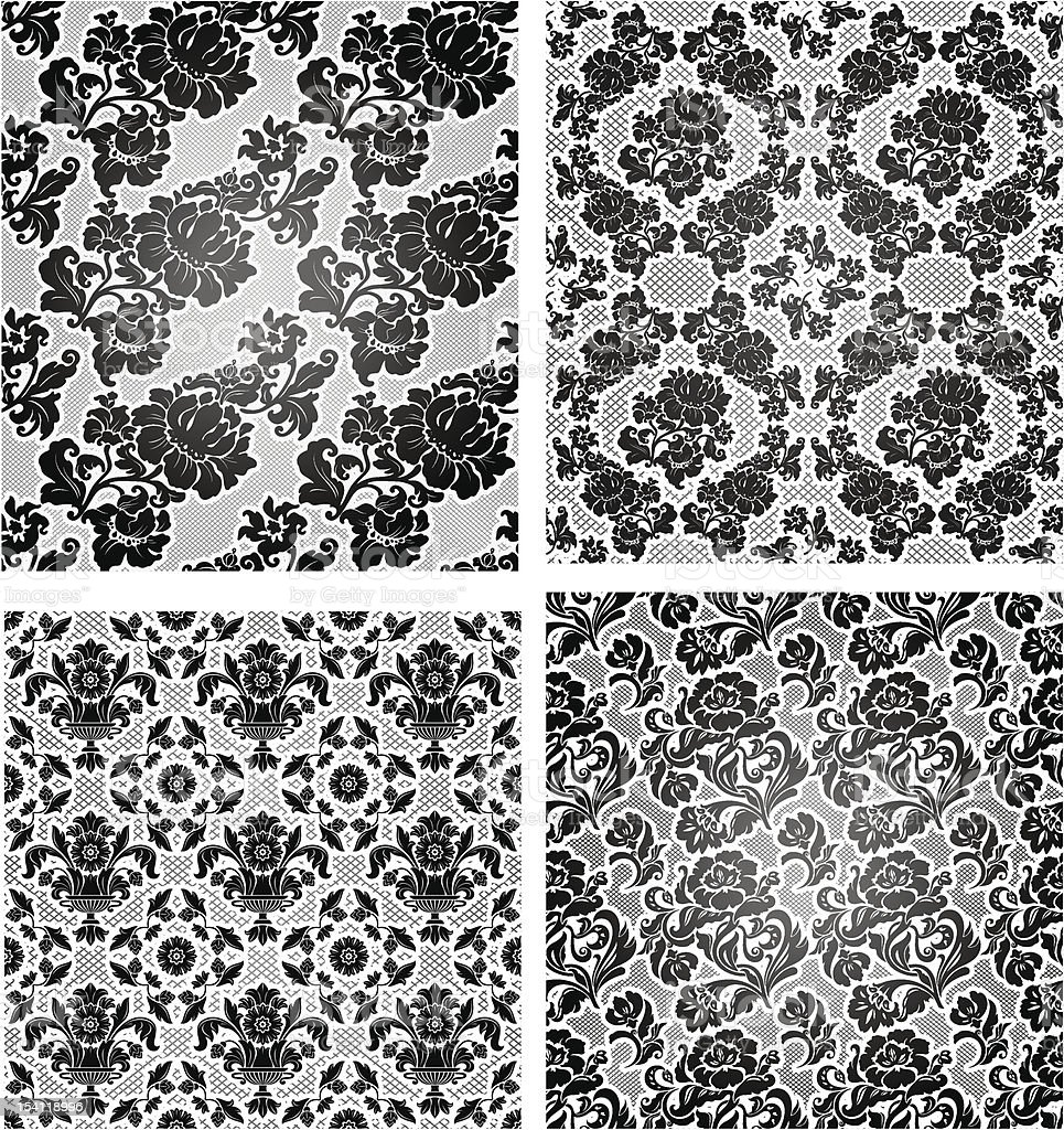 Set lace background, ornamental flowers wallpaper royalty-free stock vector art