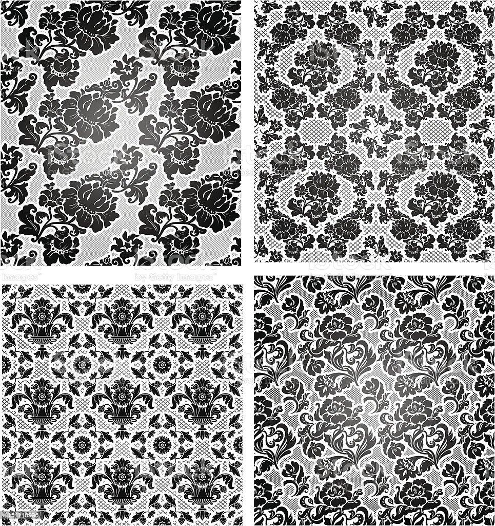 Набор кружева, фон, обои Декоративный цветочный векторная иллюстрация