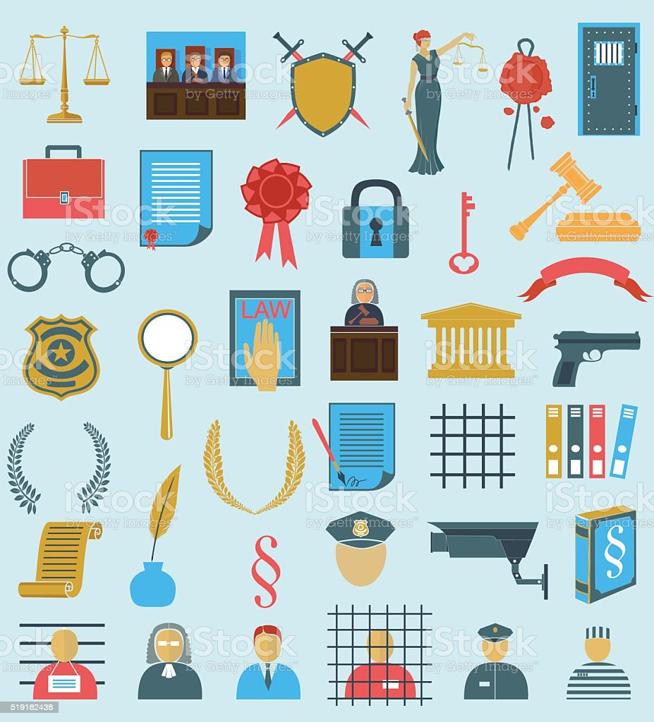 set law court .  flat  icons . gavel Libra  wreath people judge vector art illustration
