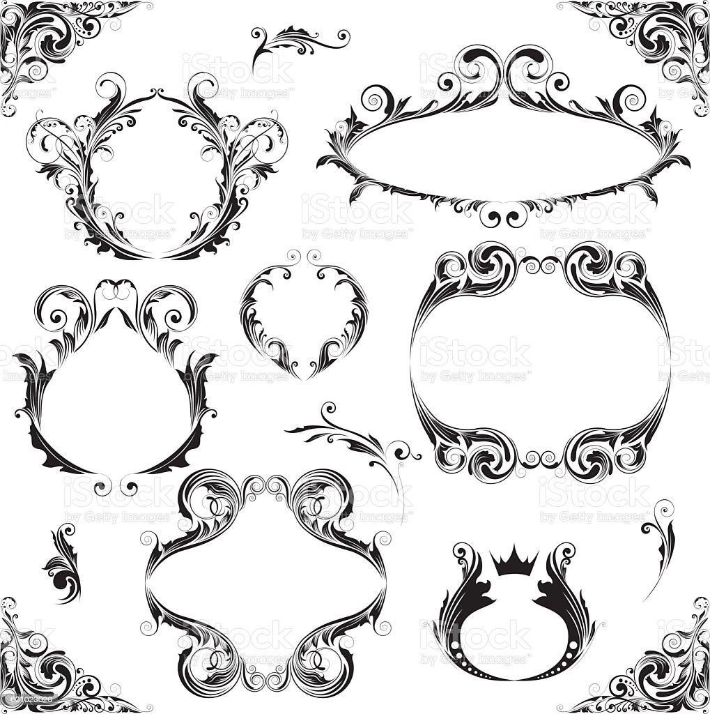 Set leaf frame design vector art illustration