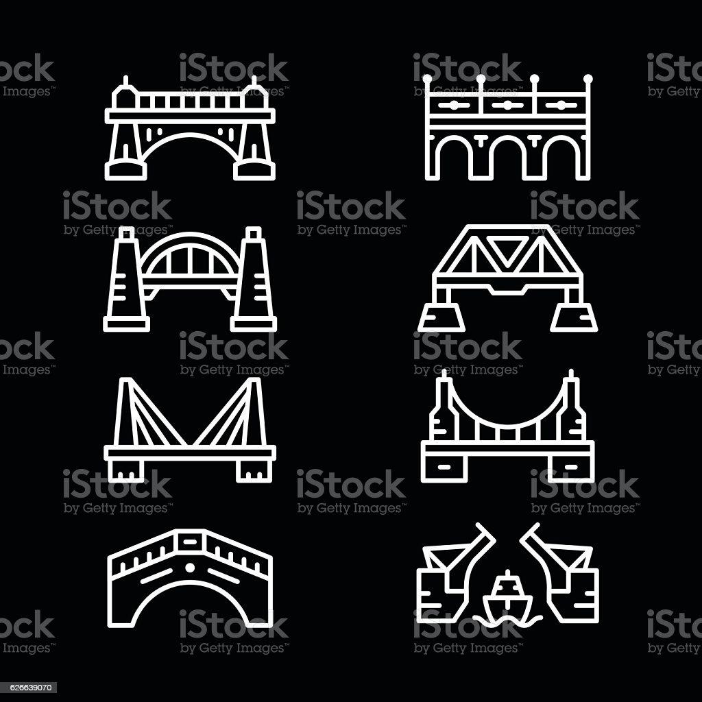 Set line icons of bridges vector art illustration