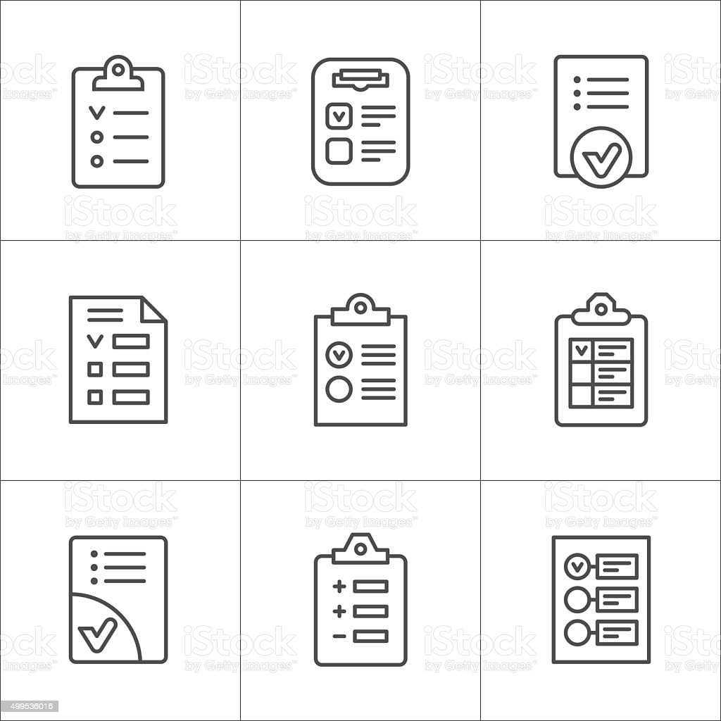 Set line icons of checklist vector art illustration