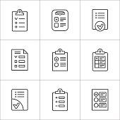 Set line icons of checklist
