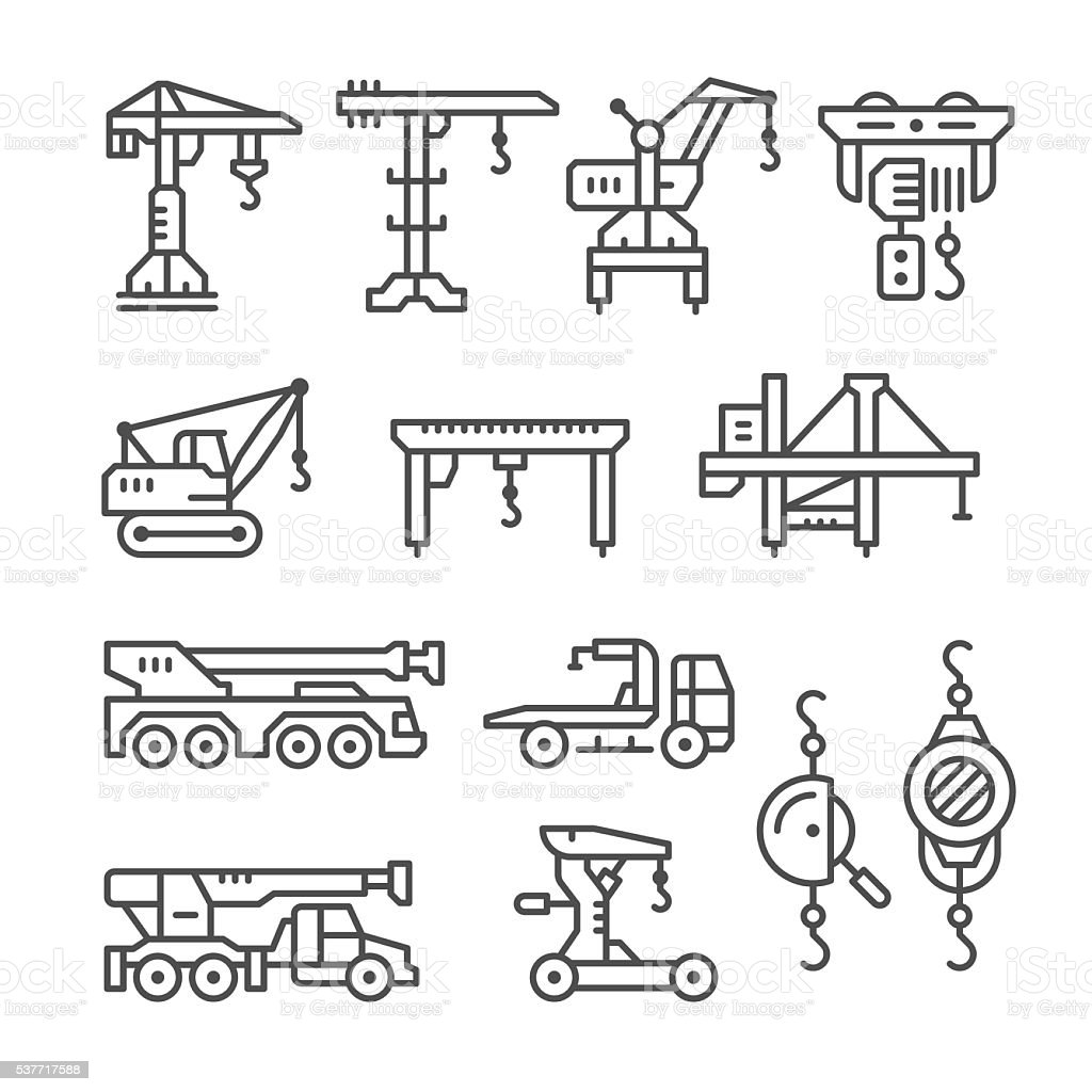 Set line icons of crane, lifts, winches vector art illustration