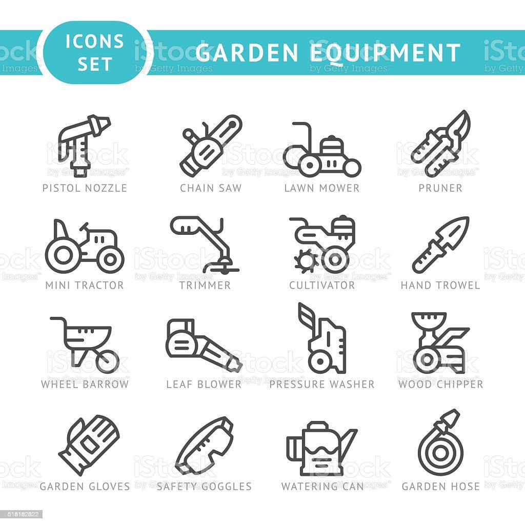 Set line icons of garden equipment vector art illustration
