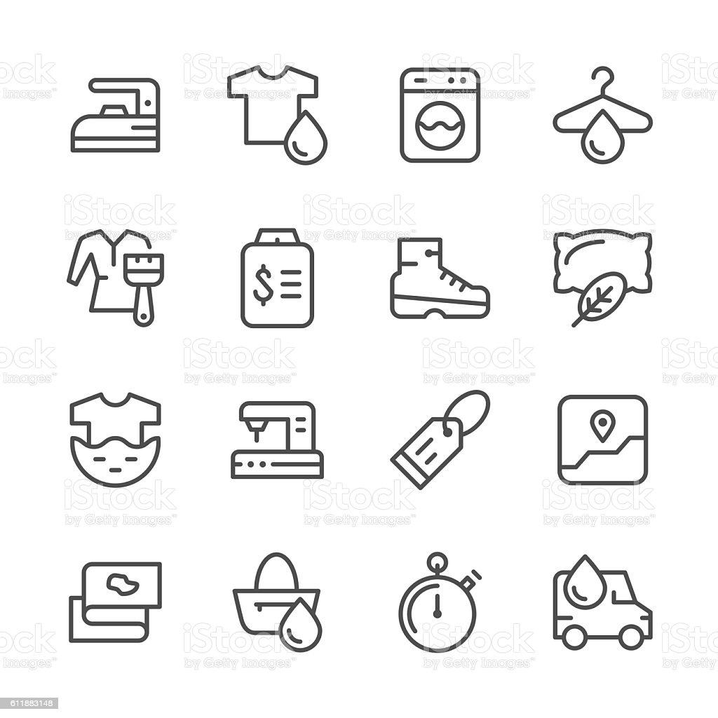 Set line icons of laundry vector art illustration